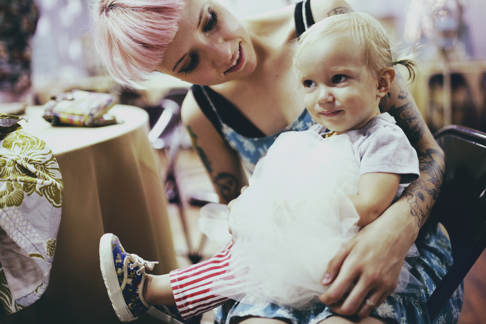 Sherri and her perfect daughter, Lucy at our wedding. Photo by  Bliss Katherine .