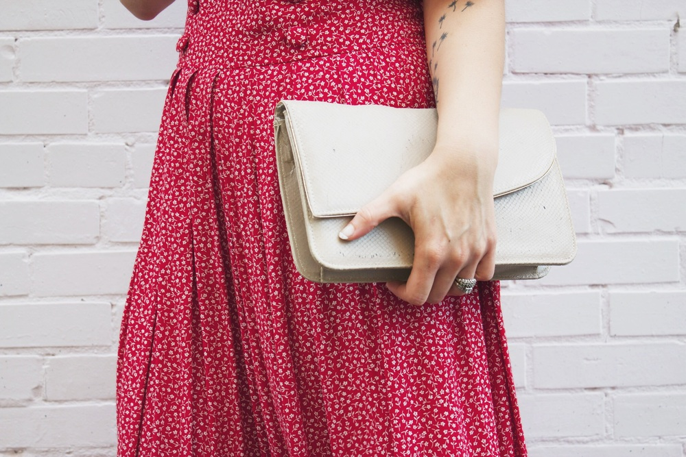 Dress, clutch: vintage
