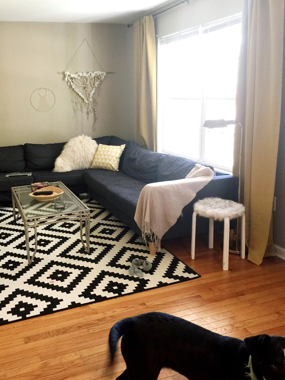 This room isn't too much of a problem for us. Obviously, the rug is not ideal and we're going to buy an actual beautiful coffee table, as well as plain white curtains and all white accents. Lots of plants.