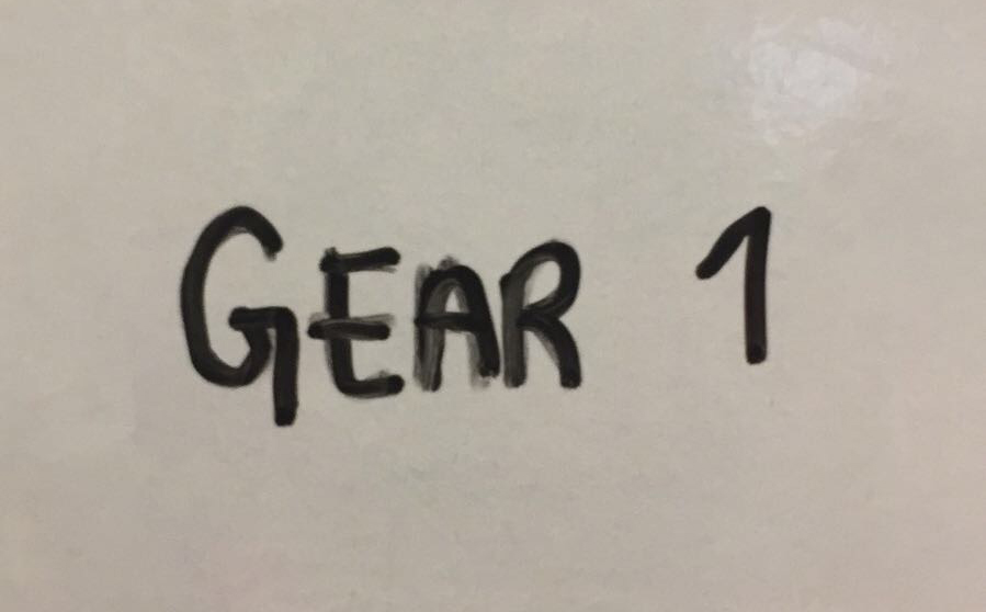 Gear 1 - Slow. Workout involves a big load (e.g. heavy squat clean or DL ) or challenging skill (Bar MU or gymnastics complex ) which you are capable of, but which you are unable to perform quickly or unbroken.