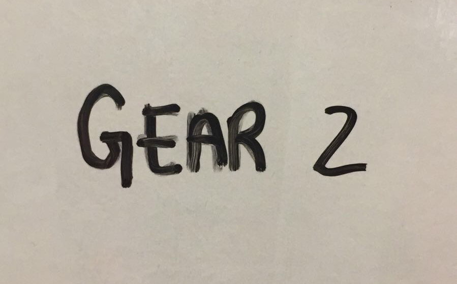 Gear 2 - workout with moderate loads and skills. You should be able to move consistently, but not unbroken or very quickly