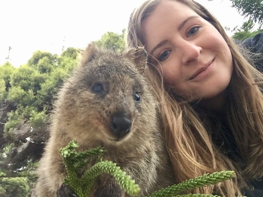 Modeling with my new quokka friend