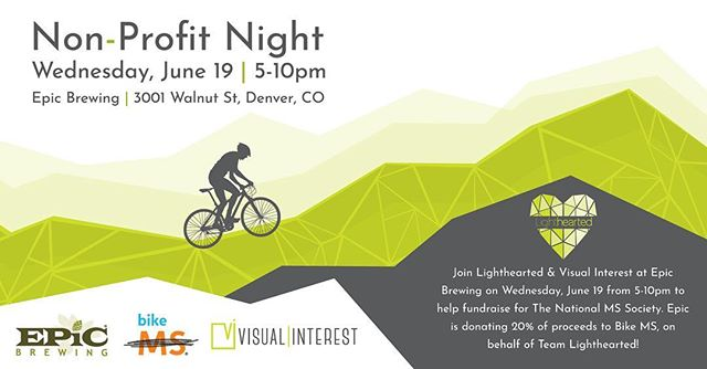Join Lighthearted and @visual_interest at @epicbrewingden on June 19 from 5-10pm for Epic's Non-Profit Night! Epic Brewing will be generously donating 20% of their proceeds to Bike MS, on behalf of Team Lighthearted! Beer, bikes and raising funds for MS research - Is there anything better? @bike_ms