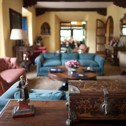 One of the charming living rooms of Hacienda Zuleta.