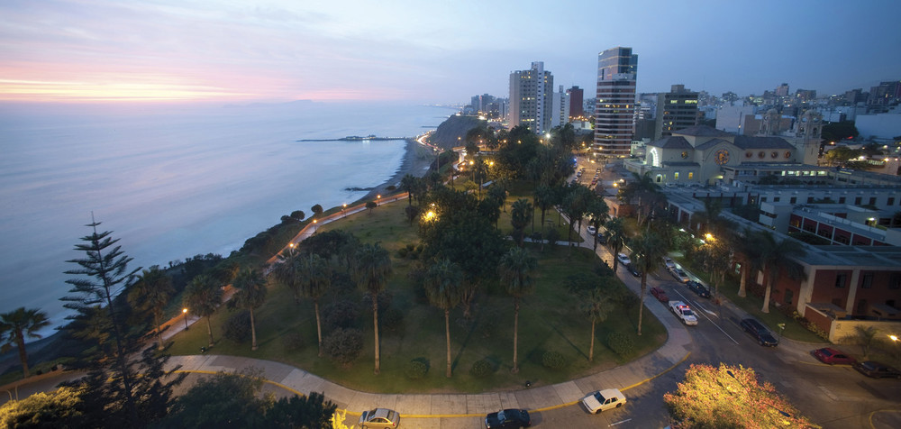 View of the coast and Miraflores neighborhood in Lima