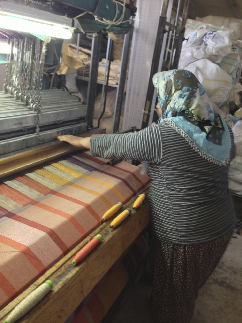 Using a traditional flat-weave loom