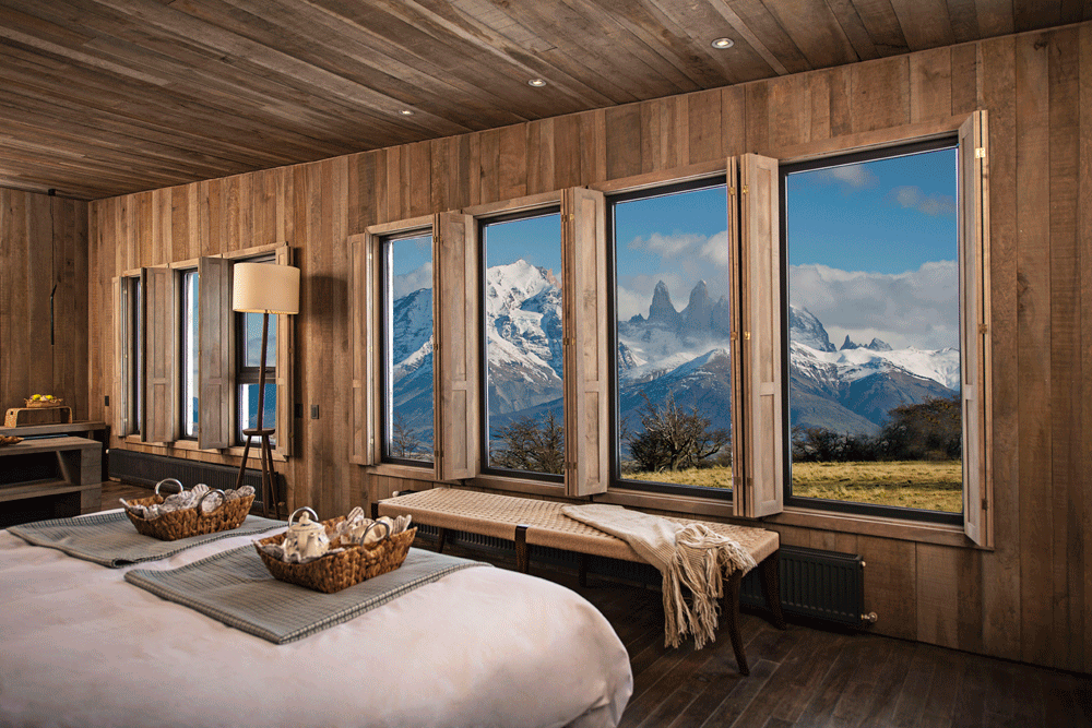 Each private villa has spectacular views of Torres del Paine