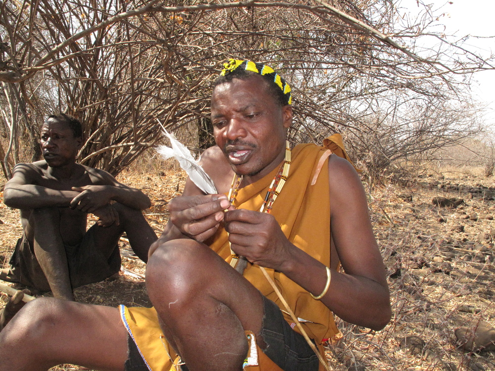 Hadza finishing making an arrow