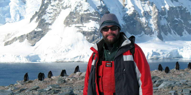 Lead naturalist Richard Polatty in Antarctica. Photo © INCA