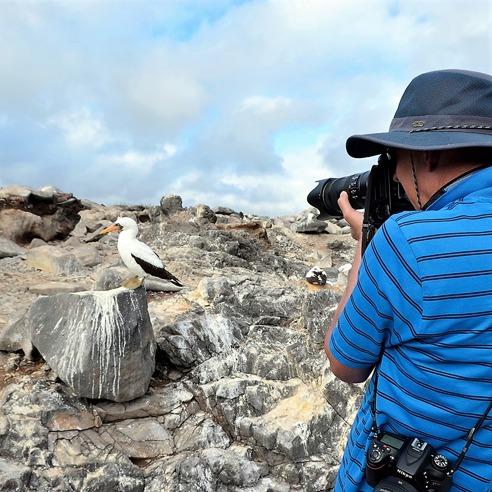 Long lenses not required.Don Tredinnick of Frozen Hiker Photography waiting for a Nazca Booby to show it's best side.