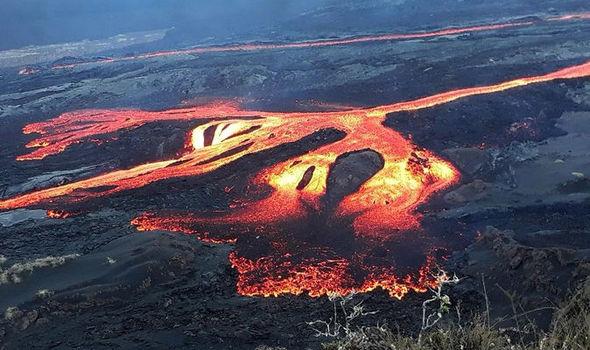 Lava flowing on Sierra Negra, Isabela. Photo ©Galapagos National Park