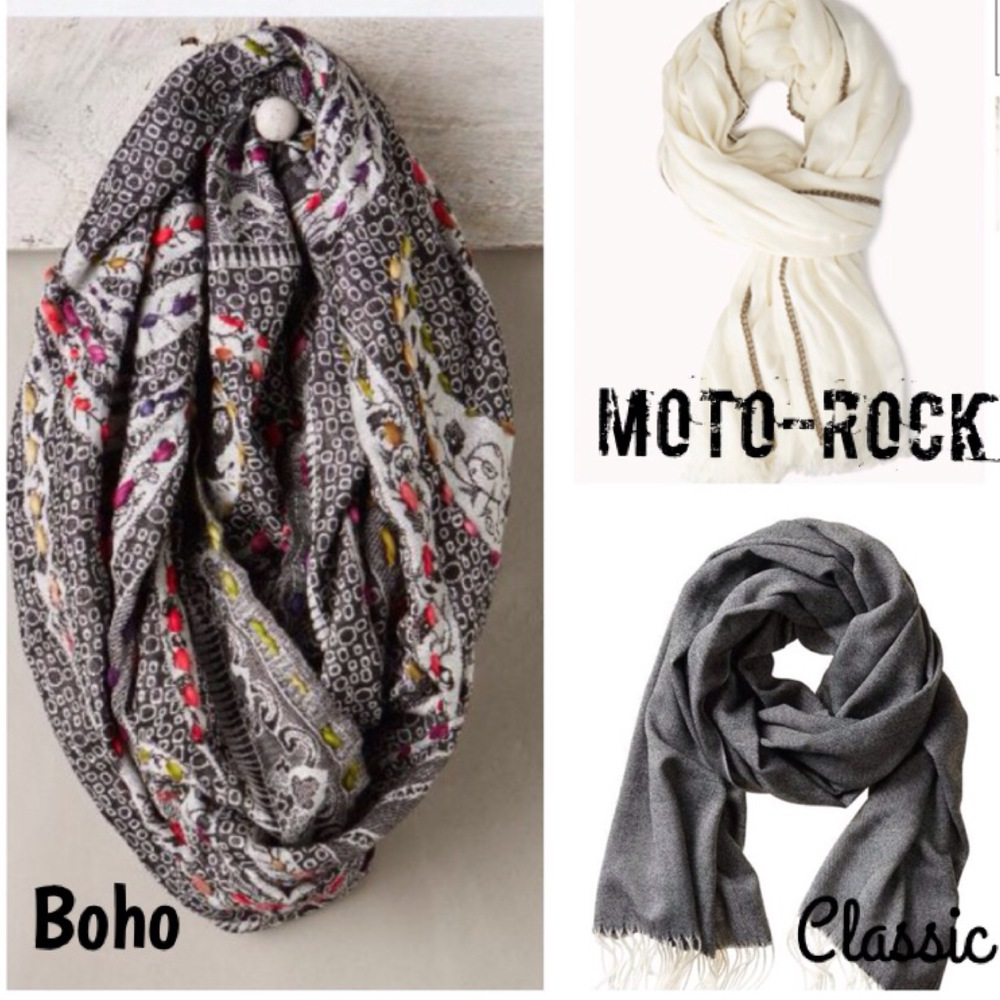"""Anthropologie.com has tons our fun and funky boho scarves. we love this one for its versatility and unexpected touches of bright color. """"Pick Stitch Loop"""" Scarf $78.00. This Moto-Rock option is from Forever21. That strip of gold is actually a gold chain running through the scarf. The combination of cream and gold makes super simple and versatile, but also edgy. """"Edgy Chain-Trimmed Scarf"""" $19.80. Banana Republic is known for its Classic staples. This looks like a basic grey scarf, but up close it have great texture, and we love the classic tassels in white, giving it a subtle 2-tone feel. """"Janey Scarf"""" $59.50."""