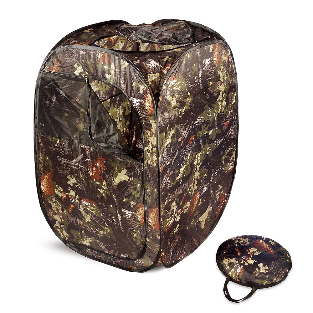Multi Use Item: Hunting Blind/Privacy Room - Pop-up blind, easy to carry-COMPACTLightweight to carry in it's sturdy, reinforced strap carrying case. Comes with ground stakes to keep it in place. Perfect for the outdoorsmen. Use as a hunting blind or privacy room when needed with a porta-potty or as a changing room while hunting, hiking, camping or while spending a day at the beachReinforced zippered windowsMetal ground stakes to hold in placeMesh screening for ventilation and visibility.