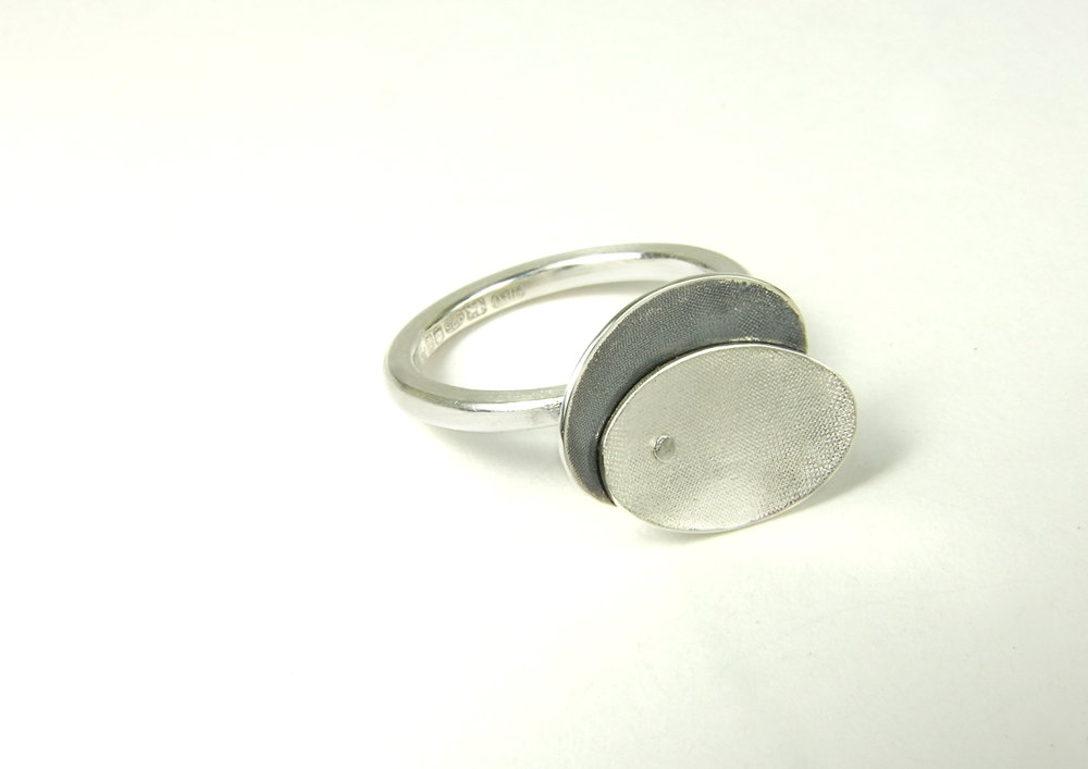 Argentium silver ring with two shallow ovals, partially oxidised and riveted together. (HBM084B)