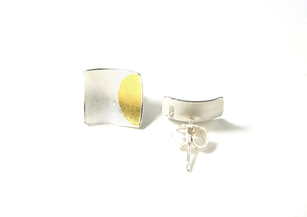 Back view of square, domed and textured Argentium silver ear studs with round Keum-Boo patterns in 22K yellow gold. Size: 12x12 mm (HBM085A)