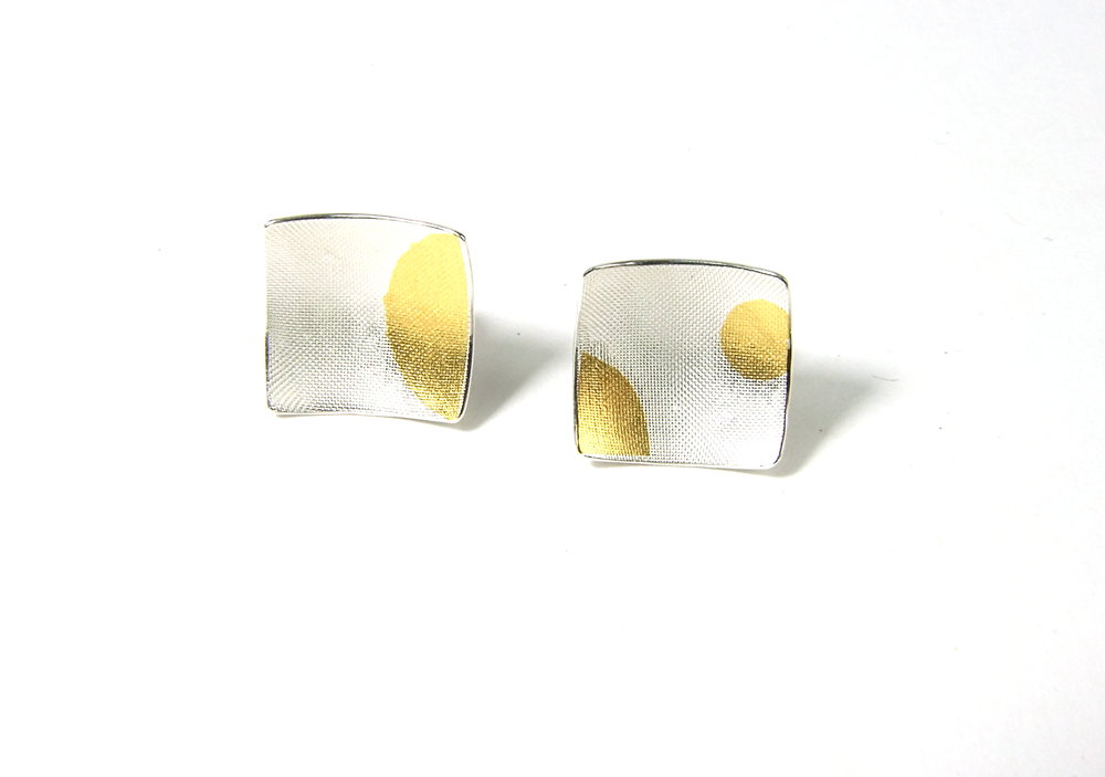 Front view of square, domed and textured Argentium silver ear studs with round Keum-Boo patterns in 22K yellow gold. Size: 12x12 mm (HBM085A)