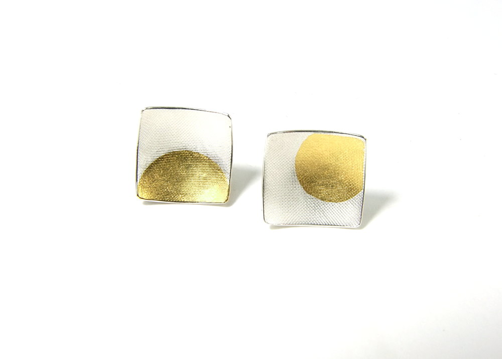 Front view of square, domed and textured Argentium silver ear studs with round Keum-Boo patterns in 22K yellow gold. Size: 12x12 mm (HBM085B)