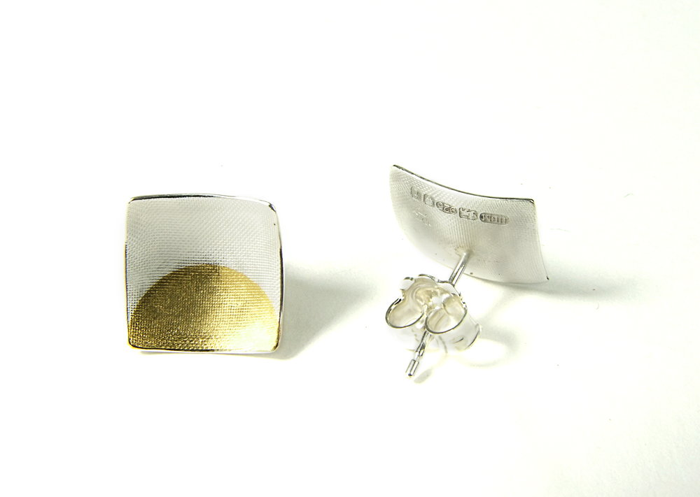 Back view of square, domed and textured Argentium silver ear studs with round Keum-Boo patterns in 22K yellow gold. Size: 12x12 mm (HBM085B)