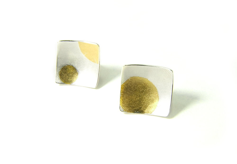 Front view of square, domed and textured Argentium silver ear studs with round Keum-Boo patterns in 22K yellow gold. Size: 12x12 mm (HBM085C)