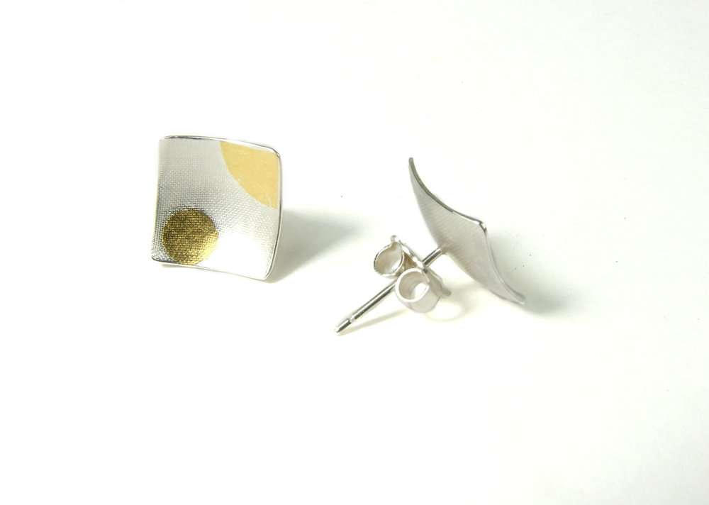 Back view of square, domed and textured Argentium silver ear studs with round Keum-Boo patterns in 22K yellow gold. Size: 12x12 mm (HBM085C)