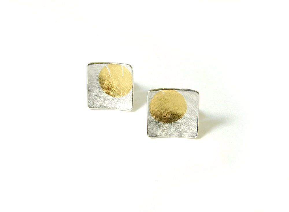 Front view of square, domed and textured Argentium silver ear studs with round Keum-Boo patterns in 22K yellow gold. Size: 10x10 mm (HBM085E)