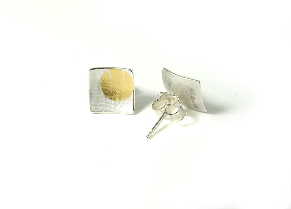 Back view of square, domed and textured Argentium silver ear studs with round Keum-Boo patterns in 22K yellow gold. Size: 10x10 mm (HBM085E)