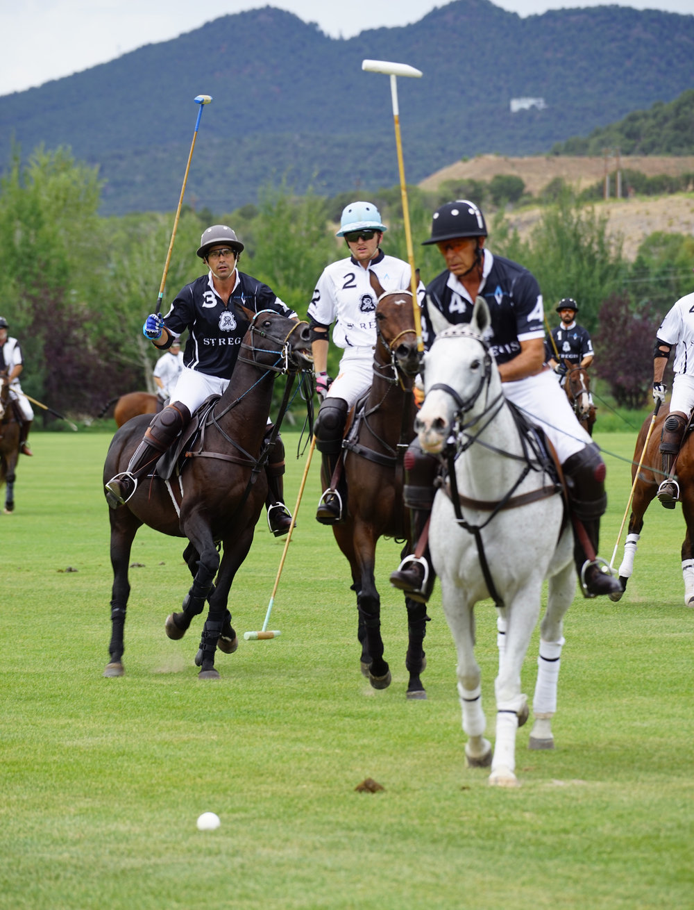 Nacho Figueras of St. Regis Black passes to teammate Tom Barrack.