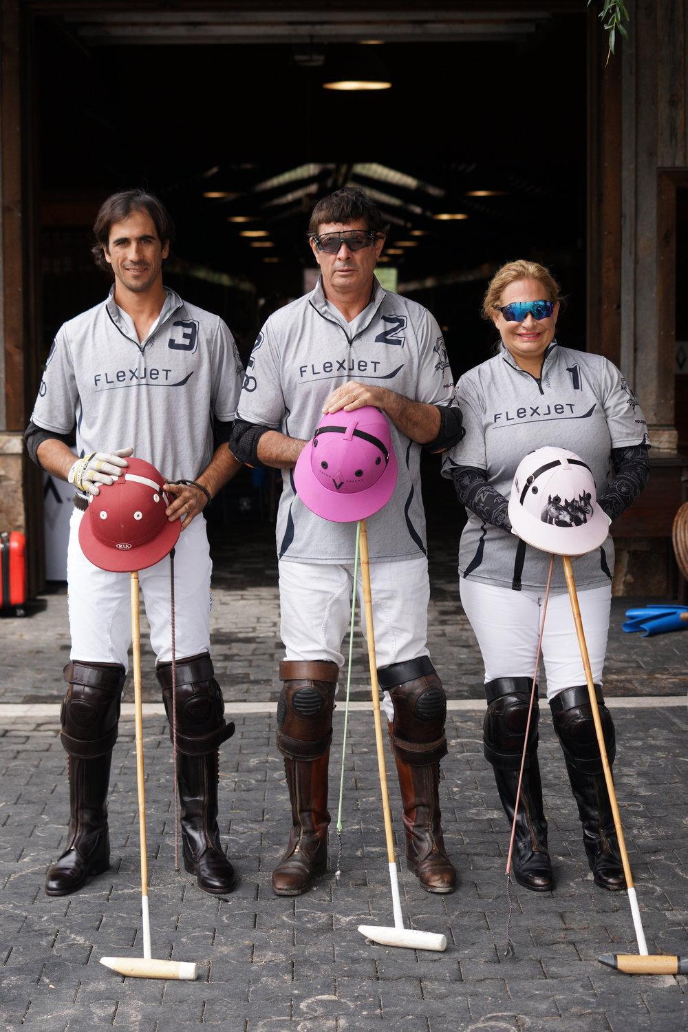 U.S. Arena Handicap champions Alejandro Novillo Astrada, MVP Juan Bollini and Melissa Ganzi of Flexjet.