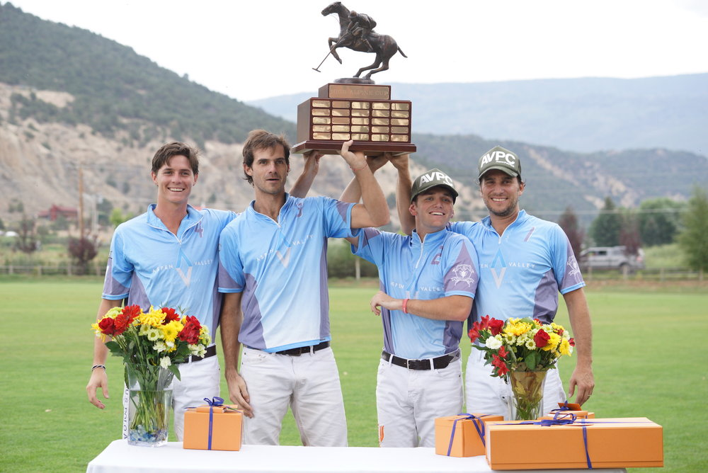 High Alpine Cup winners Juancito Bollini, Lucas Lalor, Grant Ganzi and Alejandro Poma of Aspen Valley Polo Club.