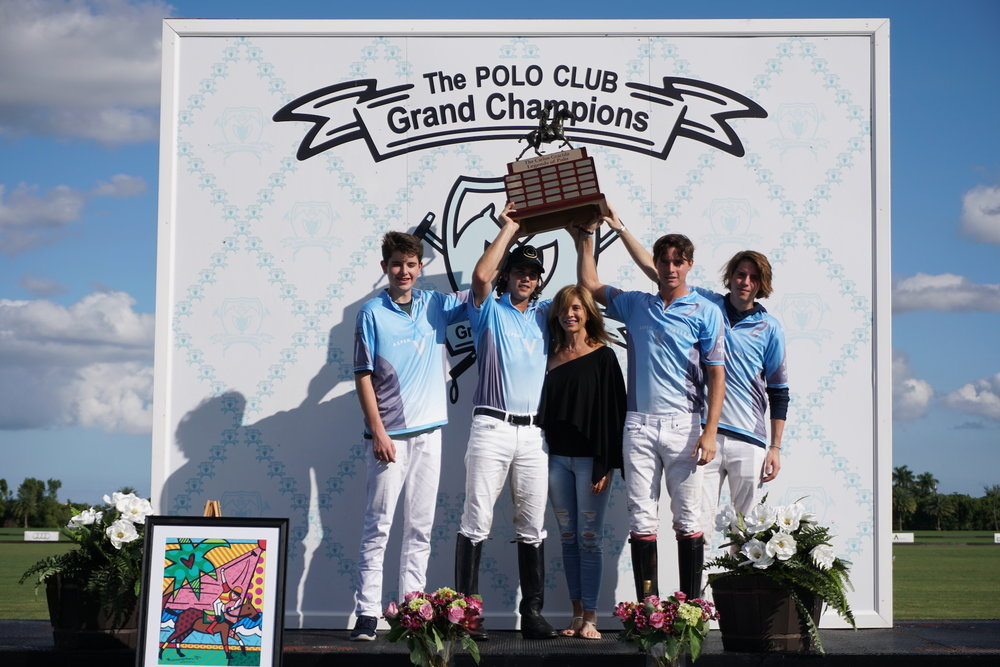 Future Legends Will Jacobs, Mariano Gracida, Juancito Bollini and Santos Bollini hoist the trophy with Mariano's mom, Carmen Marin. Photo by ChukkerTV