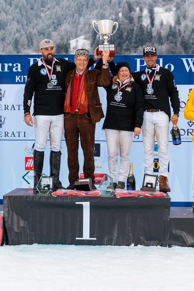 Winning teammates Tito Gaudenzi, Melissa Ganzi and MVP Alejandro Novillo Astrada of Bendura Bank.