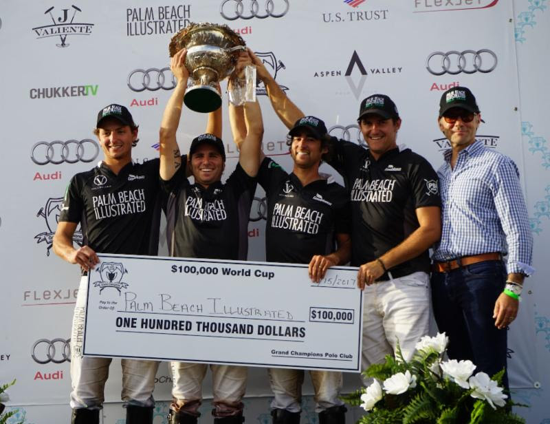 $100,000 World Cup champions Jared Zenni, Santi Torres, Agustin Obregon and Tommy Collingwood with Palm Beach Illustrated  publisher Terry Duffy.