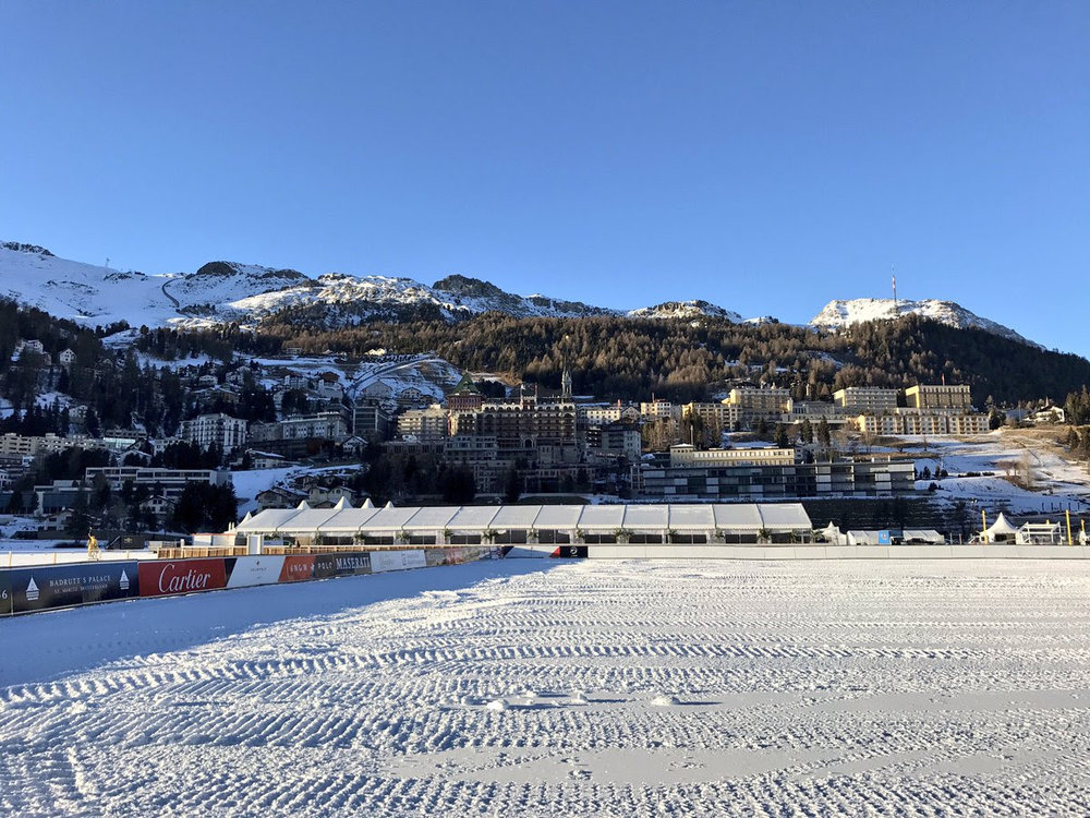 The scenic backdrop and frozen lake for the St. Moritz Snow Polo World Cup.