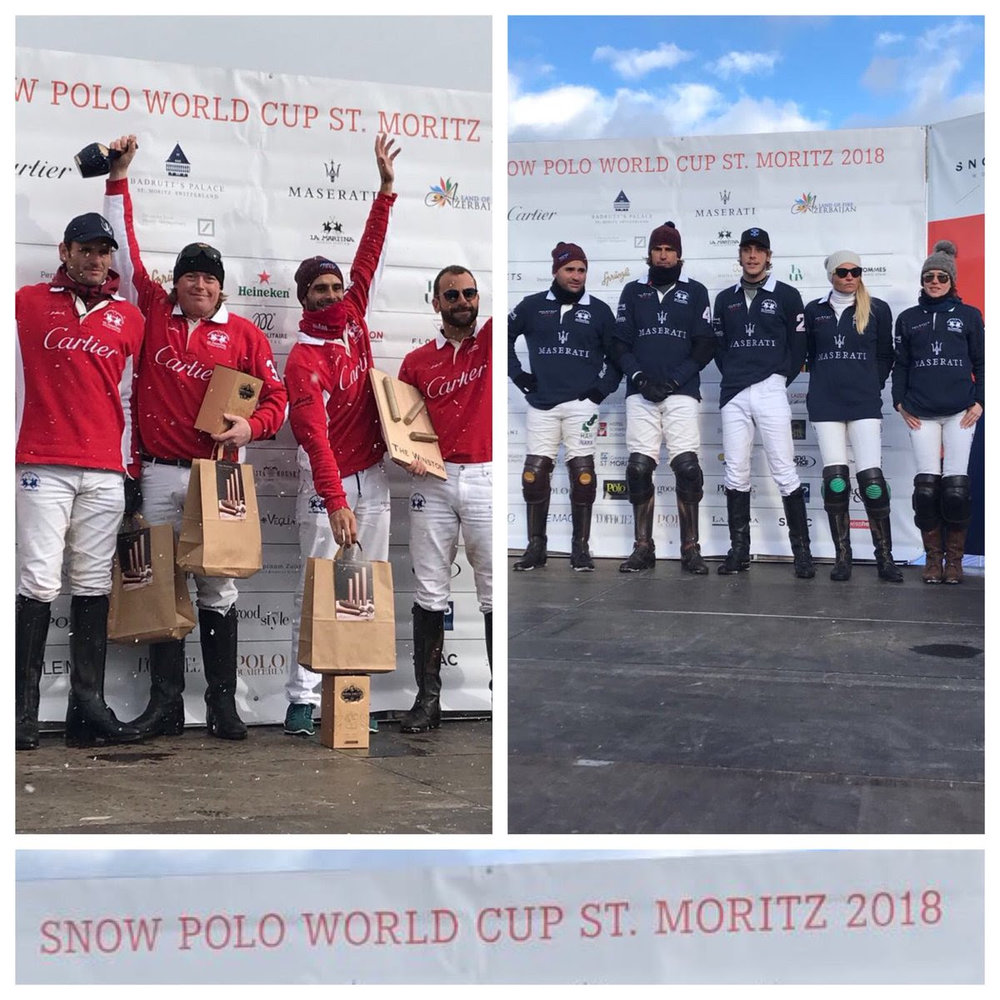 Cartier and Maserati will play Sunday in the 34th St. Moritz Snow Polo World Cup Final.