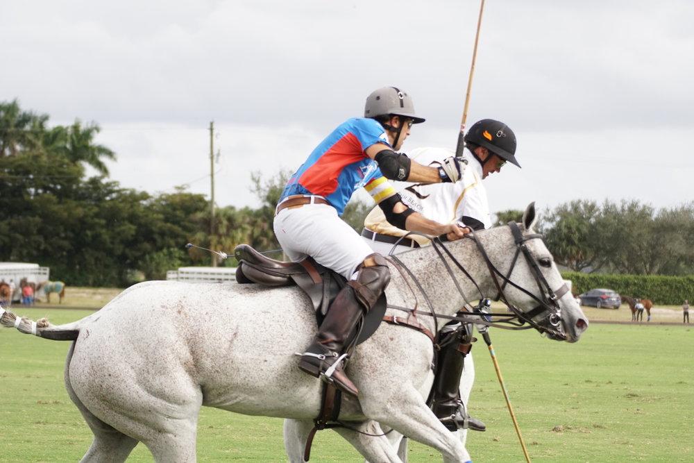 Santi Wulff of Patagones tries to ride off .JPG