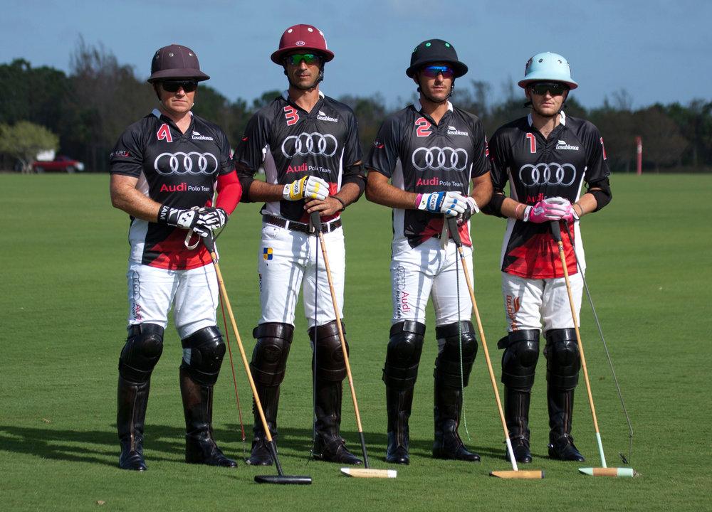 Audi teammates Marc Ganzi, Alejandro Novillo Astrada, Nic Roldan and Grant Ganzi.