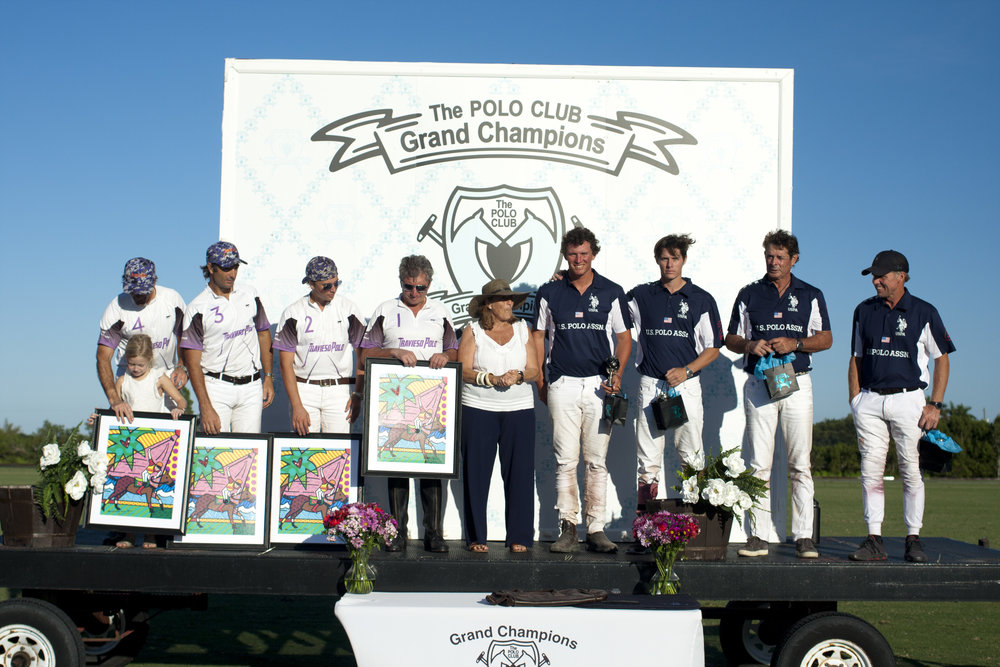 Players from Travieso and U.S. Polo Assn on the awards podium with presenter Christina Merlos.