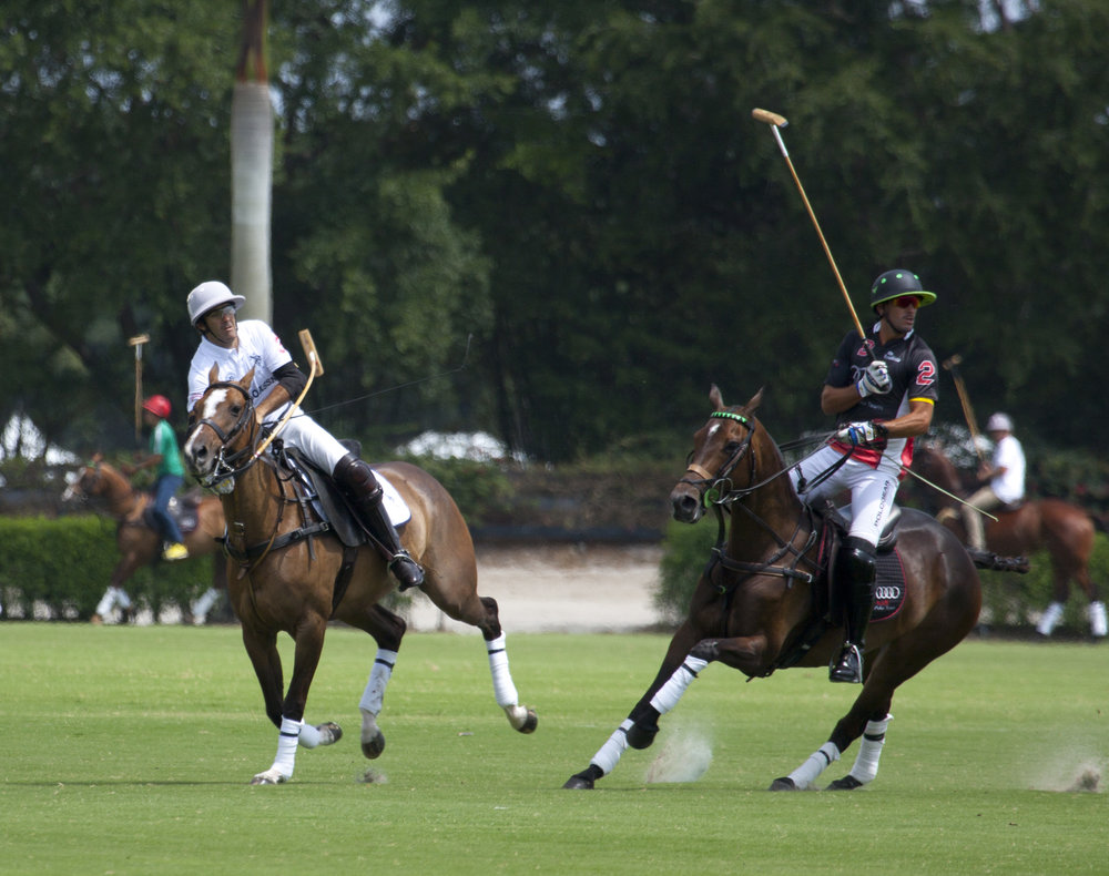 Ten-goaler Juan Martin Nero of U.S. Polo Assn. hits a neck shot past Nic Roldan.