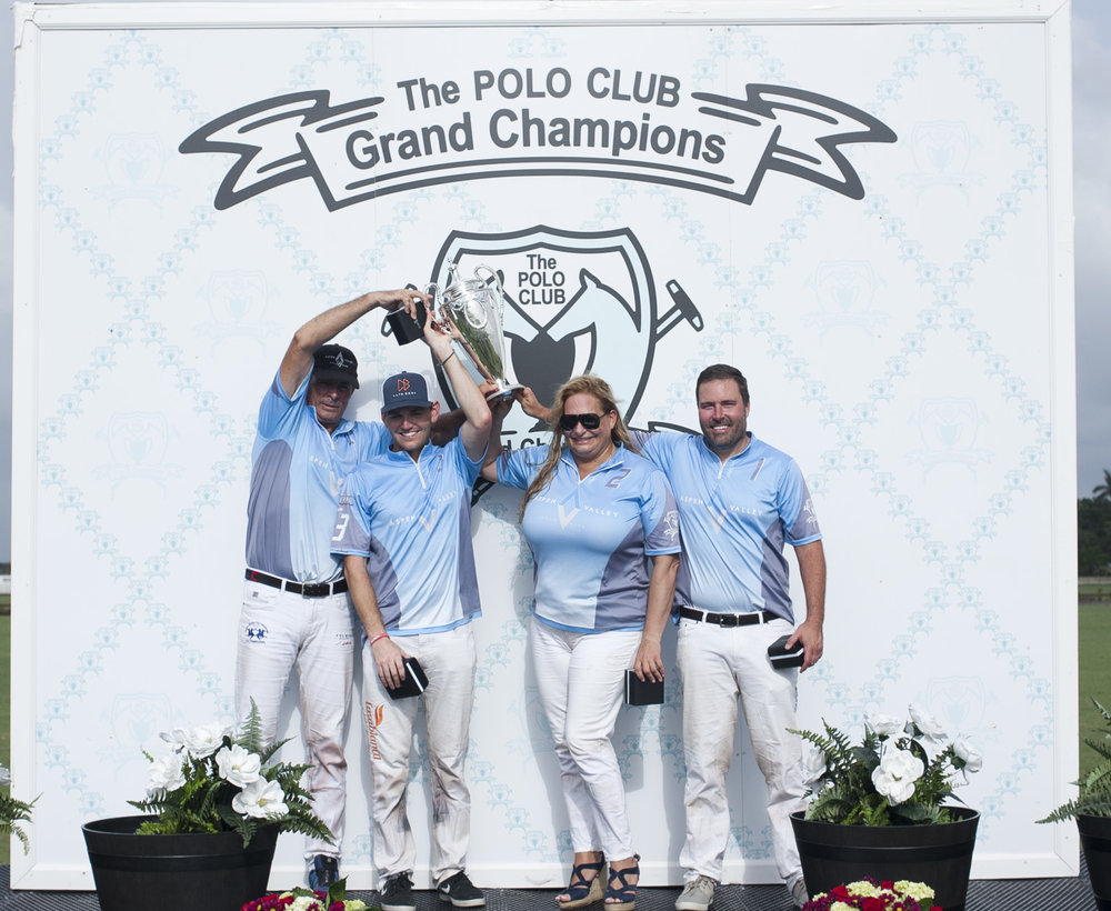 USPA National President's Cup champion Aspen Valley Polo Club's Juan Bollini, Grant Ganzi, Melissa Ganzi and Rich Desich.