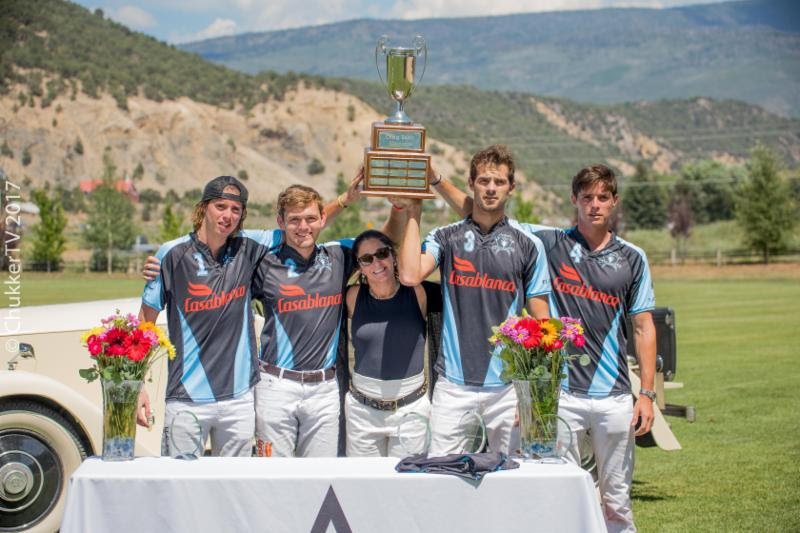 2017 Craig Sakin Memorial winning Casablanca teammates Santos Bollini, Grant Ganzi, Lucas Lalor and Juancito Bollini with presenter Sally Sakin.