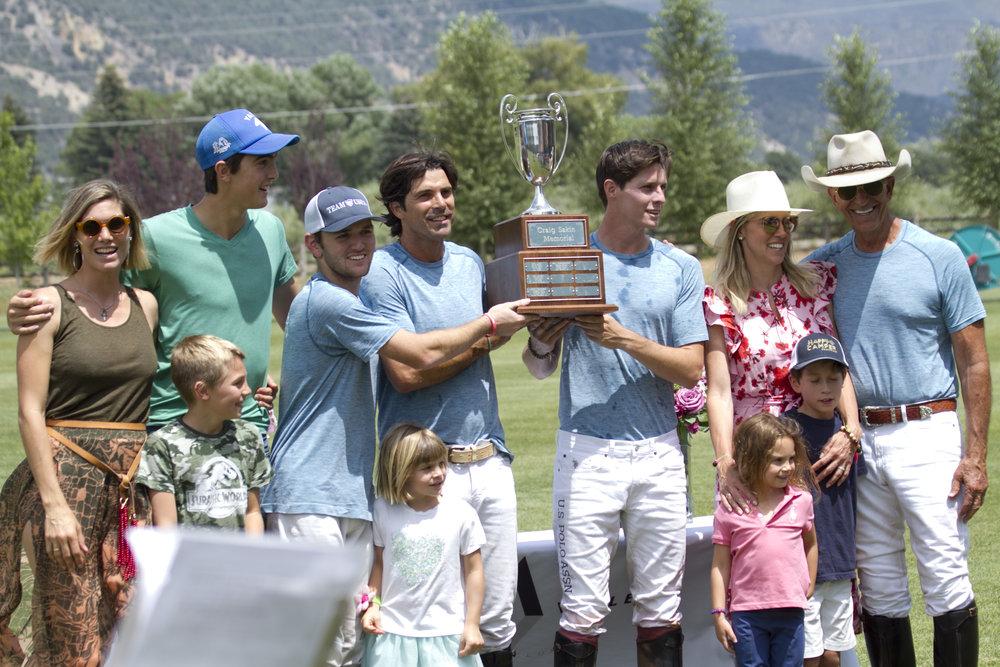 Piocho winning teammates Grant Ganzi, Nacho Figueras, Juancito Bollini and Tom Barrack.