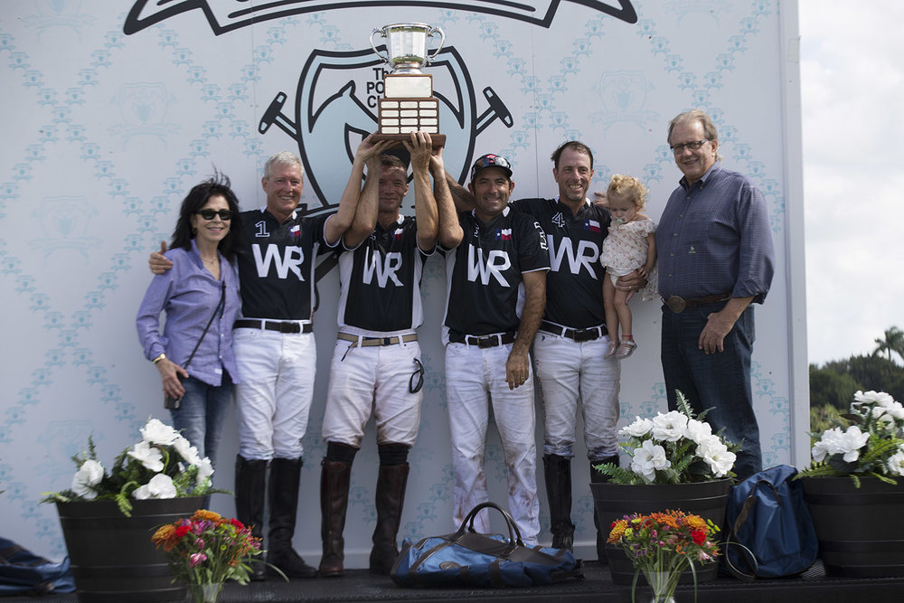 Whitehall Ranch players Bill Lane, Sugar Erskine, Whistle Uys and Pablo Dorignac with award presenters and Polo Gear co-owners Gary Fellers and Jeanette Sassoon.