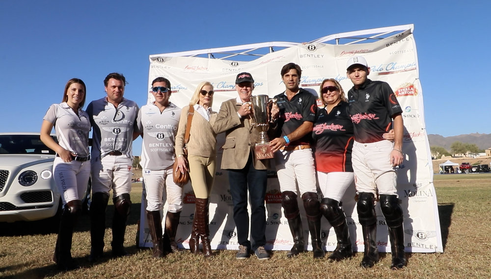 Molina Cup champion Barrett Jackson-Aspen Valley Polo Club teammates Nacho Figueras, Melissa Ganzi and MVP Grant Ganzi and runners-up Bentley Scottsdale-Wales Centtrip players Ashley Busch, Pete Webb and Ricky Cooper.