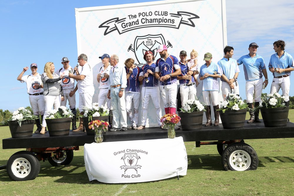 St. Moritz, American Polo Horse and Aspen Valley Polo Club players during awards ceremony.