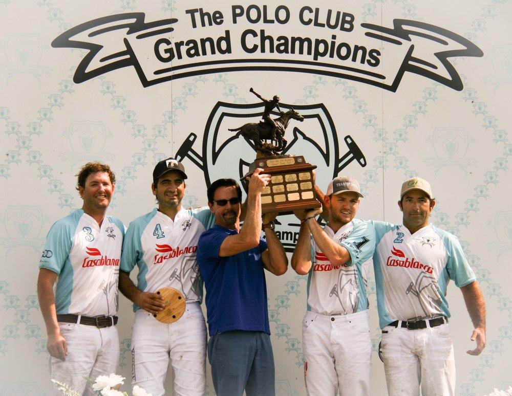 USPA National 20-Goal champion Casablanca's Julio Gracida, Pablo Spinacci, Grant Ganzi and Whistle Uys with awards presenter USPA CEO Bob Puetz.
