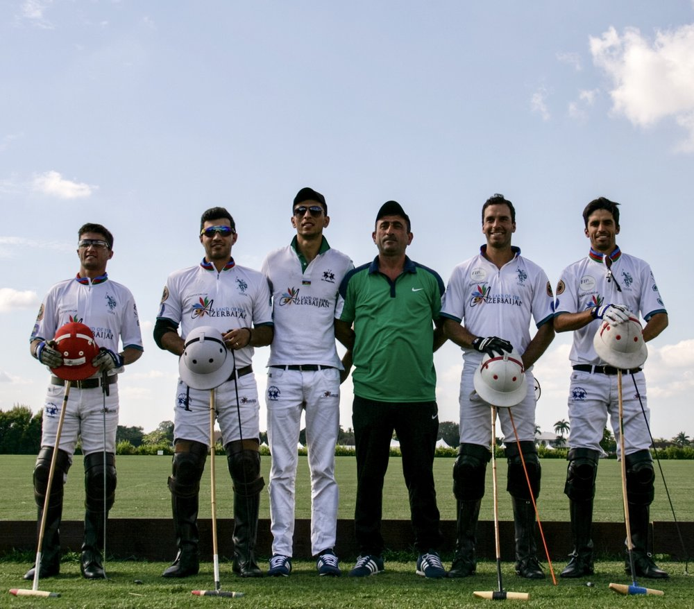 Azerbaijan players and coach pose du.jpg