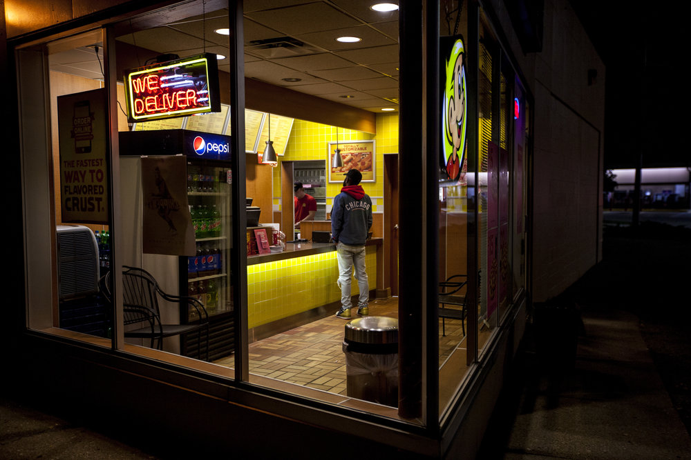 At the end of a long day Deontè Gardner orders a calzone from Hungry Howie's in Mt. Pleasant. Deontè's days at school are long and he doesn't always get the chance to eat during the day.