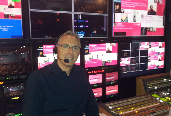 Jim Draper in the truck at T-Mobile Launch