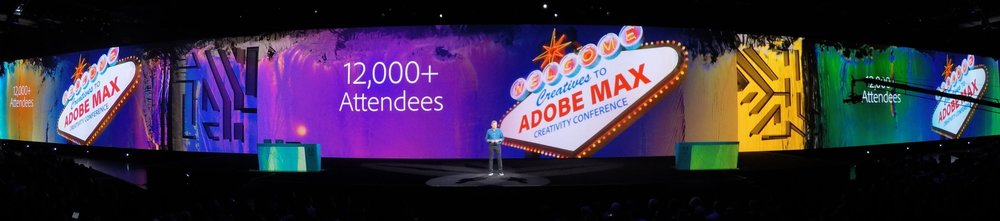 400 Feet of screen at Adobe Max in Las Vegas. State of the art image presentations and fascinating speakers over the two day event.   Keynotes available here