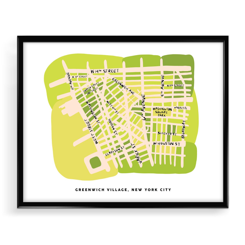 Greenwich Village Nyc Map Illustration Print Nicole Goldfarb